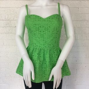 Lilly Pulitzer green lace peplum tank top